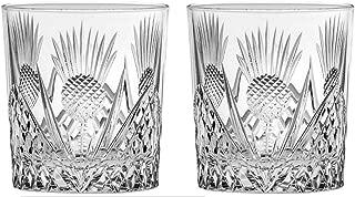 Royal Scot Crystal Scottish Thistle Set of 2 British Hand Cut Crystal 11oz Large Whisky Tumblers Presentation Box
