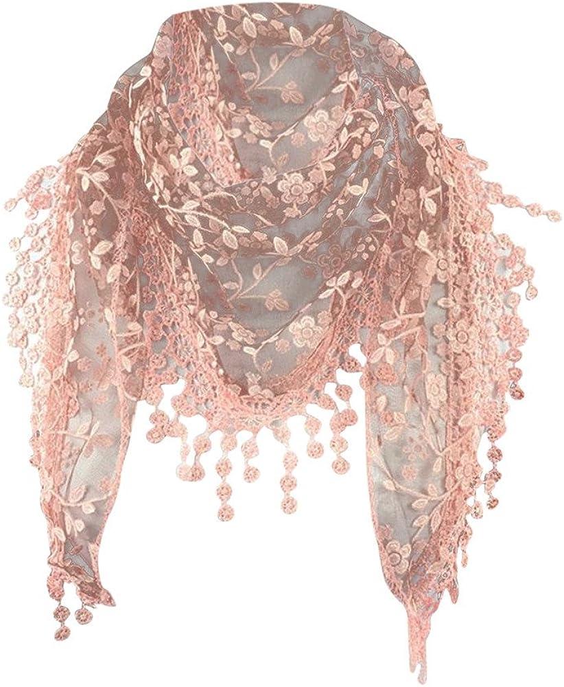 Lace Openwork Fringed Triangle Scarf, Sttech1 Fashion Lace Tassel Sheer Burntout Floral Print Mantilla Scarf Shawl (G)