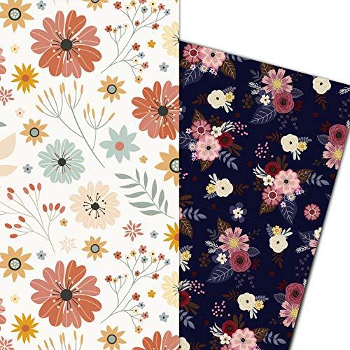 ArtUp.de Geschenkpapier Blumen 6 große Bögen zwei verschiedene Motive - DIN A1 84 x 59cm - edles und fröhliche Blumenmotive - hochwertige stabile Qualität 100 g/m² - Lieferung gefaltet auf A4