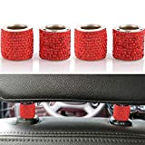 LEIWOOR 4 Pack Car Headrest Collars,Car Head Rest Collars Rings Decor Bling Bling Crystal Diamond Ice for Car SUV Truck Interior Decoration (Red)