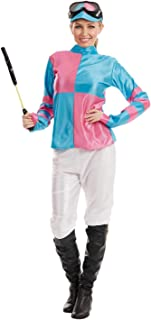 Womens Pink & Blue Jockey Girl Costume Adults Races Horse Racer Outfit