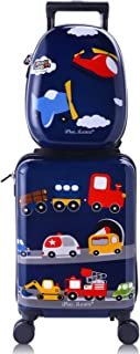 Kids Carry On Rolling Luggage, Hard Shell Travel Upright Suitcase Boys Children