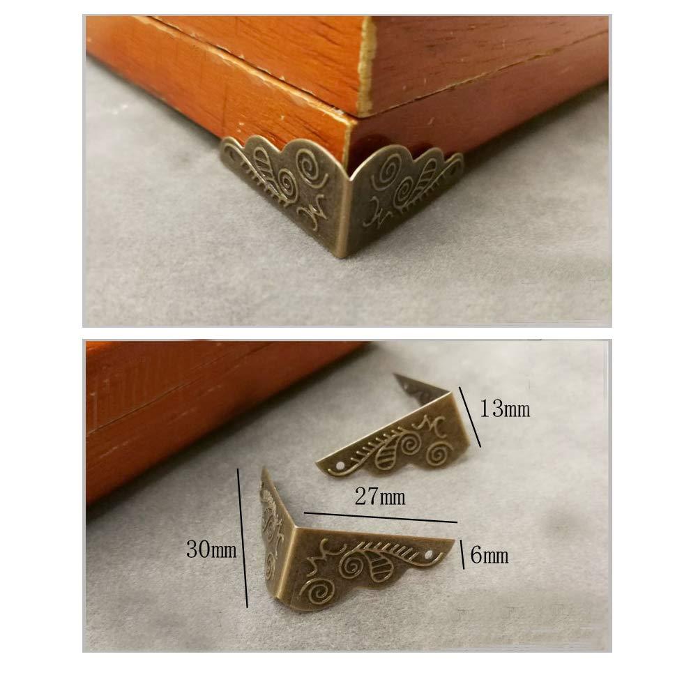 RUN 30 Pcs Antique Box Corner Covers Iron Decorative Furniture Edge Protectors Safety Guards with Screws