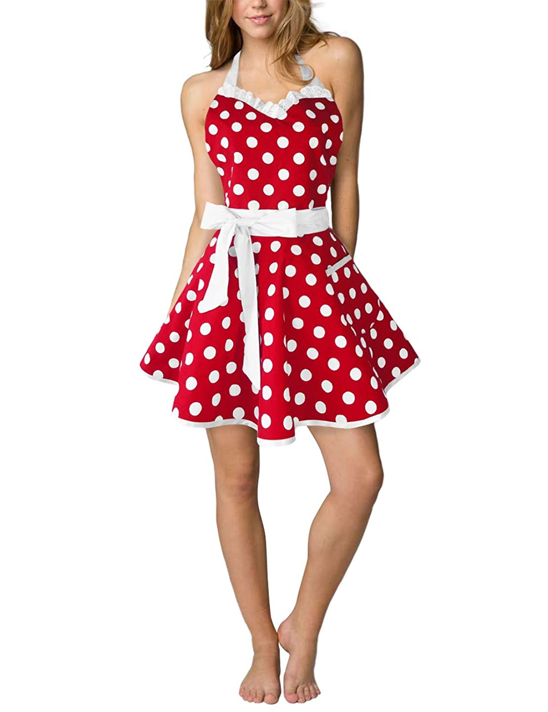 Eternity J. Cute Cotton Polka Dot Kitchen Aprons Sexy Vintage Apron Dress Retro Baking Cooking Salon Pinafore Maid Costume for Women Girls