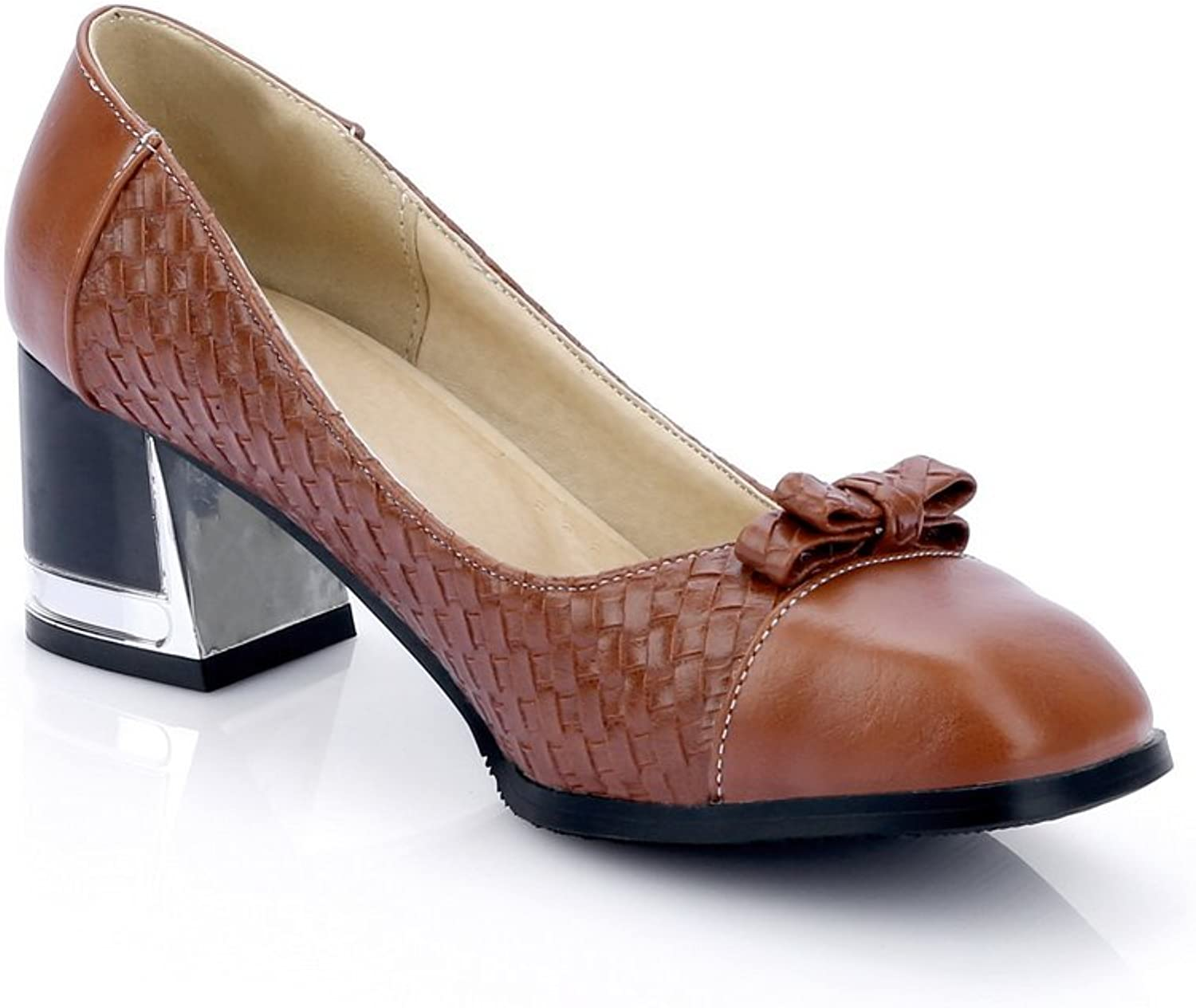 1TO9 Womens Chunky Heels Low-Cut Uppers Square-Toe Leather Pumps shoes MMS04412