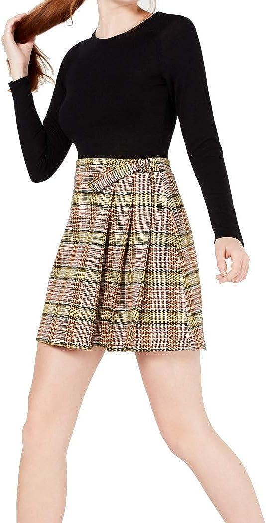 Teeze Me Womens Black Plaid Short A-Line Skirt Size 3