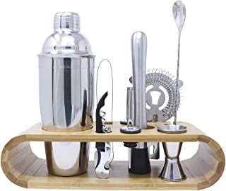 Homewell Bartender Kit: 10-Piece Bar Tool Set with Stylish Bamboo Stand for Bartending Cocktails and Mixed Drinks