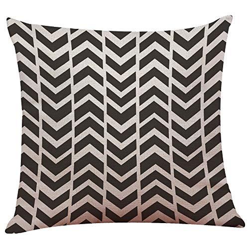 UYSDF Fashion Pillowcase 45 * 45 cm,Vintage Black & White Cotton Linen Throw Cushion Cover Pillow Case Home Decor