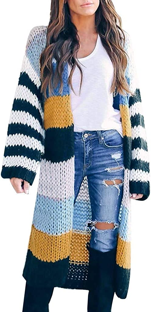 Eduavar Cardigan Sweaters for Women, Womens Open Front Color Block Knit Sweater Casual Long Sleeve Cardigans Outerwear