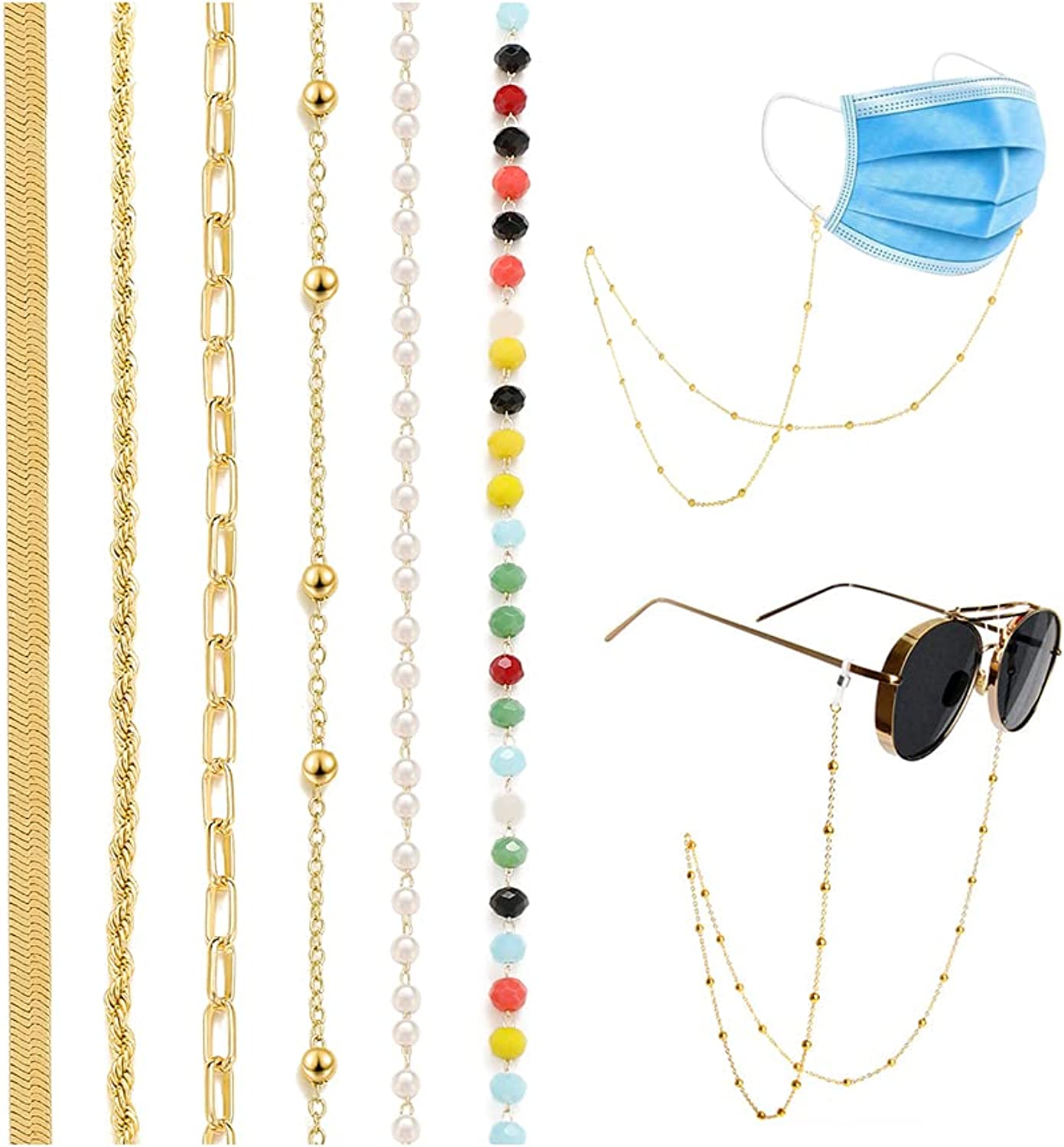 6 PCS In stock Eyeglass Chain for Women Set Necklace G Glasses Link Bombing new work