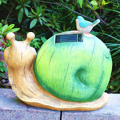 Garden Statue Snail Figurine - Solar Powered Outdoor Lights for Patio Lawn Yard Decorations, 10 x 8.5 Inch, Housewarming Gift