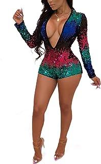 a46bdfb52aa07 Rela Bota Women s Deep V Neck Long Sleeve Sequin Clubwear Party Bodycon Jumpsuit  Romper