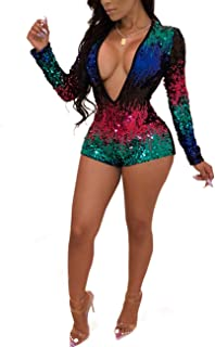 Women's Deep V Neck Long Sleeve Sequin Clubwear Party Bodycon Jumpsuit Romper