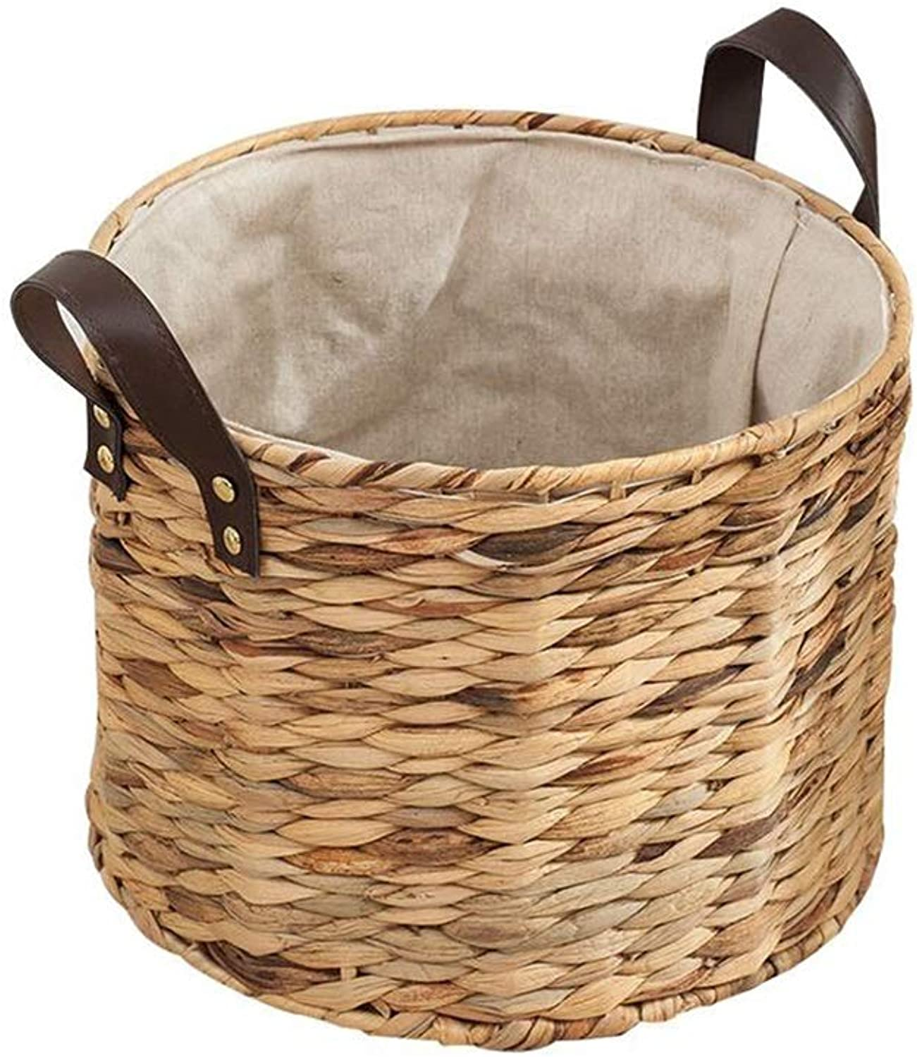 MUMA Storage Baskets Round Rattan Weaving Cotton Lining Anti-Static Breathable Easy to Clean Home Supplies (color   T1, Size   30x23cm)