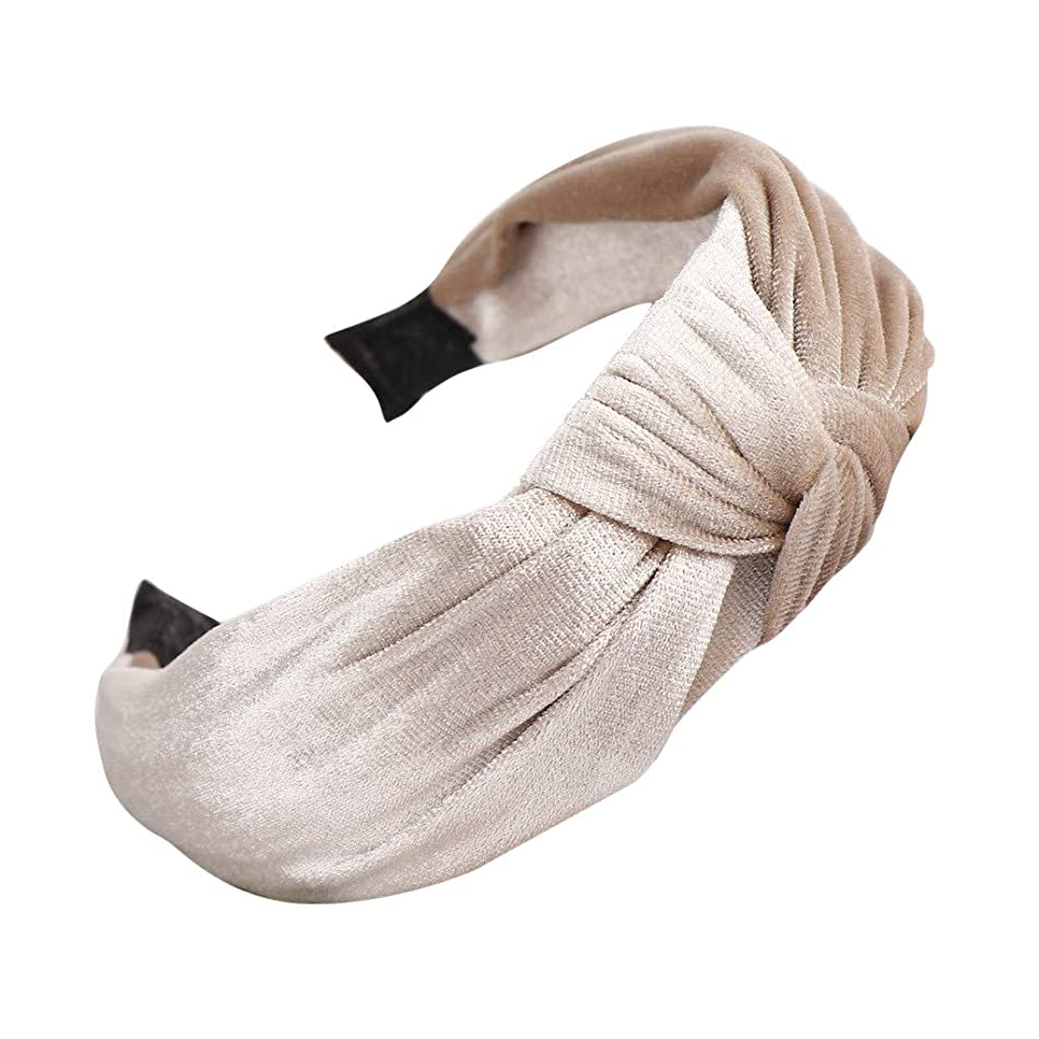 HAPIGOOD Women's Headband Fashion Cute Velvet Wide Brim Bow Knot Solid Color Sweet Girls Hair Accessories (Khaki)