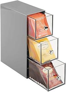 mDesign Küchen Organizer mit 3 Schubladen - Aufbewahrungsbox für Teebeutel, Kaffeepads, Süßungsmittel und mehr - Teekiste ...