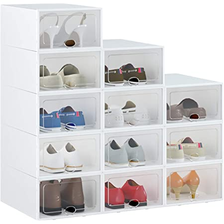 IRONLAND Foldable Shoe Storage Box Clear Plastic Stackable Shoe Organizer 12 Pack Black