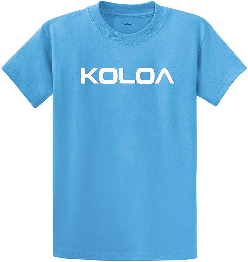 Joe's USA Koloa Surf(tm) Text Logo Cotton T-Shirts in Size 2X-Large Tall -2XLT Aquatic Blue
