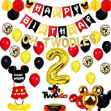 Mickey Mouse Party Supplies - Boys 2nd Twodles Birthday Party Supplies Pack, Includes a Mickey Themed Birthday Banner, an Oh Twodles Banner, a Twodles Cake Topper, 15 Latex Balloons, 5 Confetti Baloons, 6 Tissue Balls, a Huge 2 Boil Ballons 3 Foil Balloons, a Welcome Sign, Great for Boys 2nd Birthday