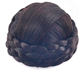 Small SizeSynthetic Hair Chignon Bun Donut Braided Hairpieces Scrunchie Clip in Hair Bun Extensions Straight Updo for Wedding Party Costume Women Beauty 6Colors avilable (Dark Brown/Dark Auburn Brown)