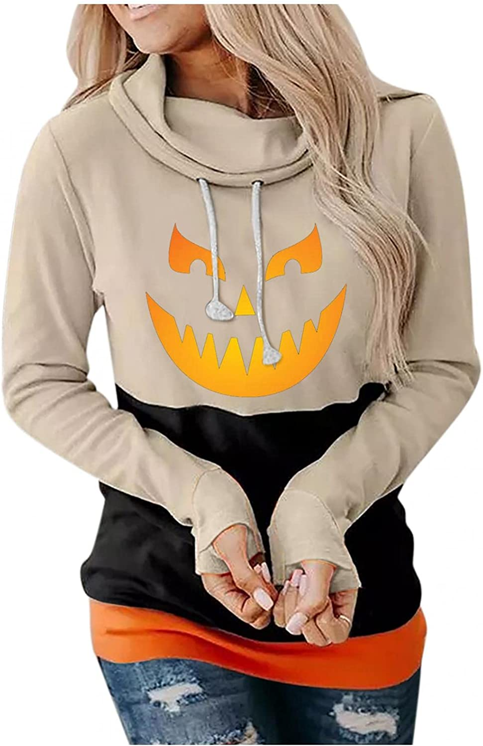 Womens Halloween Graphic Hoodies Pullover Cowl Neck Long Sleeve Hooded Sweatshirts Casual Funny Cute Pumpkin Sweaters Tops