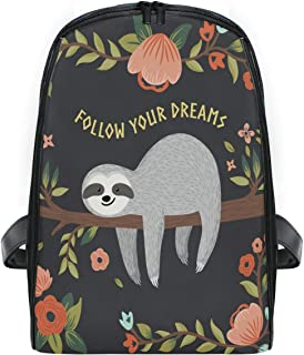 ZZXXB Sloth Follow Your Dreams Backpack Kids Toddler Child Preschool Kindergarten Waterproof Book Bags Travel Daypack for Boys and Girls
