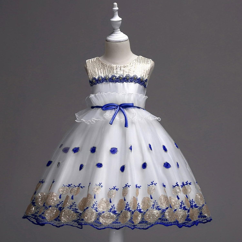 RBB Blaumenmädchen Kleid Rock Kinder Kleid Mesh Mesh Mesh Pailletten Puff Rock Prinzessin Blaumenmädchen Kleid,Blau,110 cm B07FF1PCRN  Schönes Design 36432f