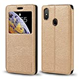 Leagoo S9 Case, Wood Grain Leather Case with Card Holder