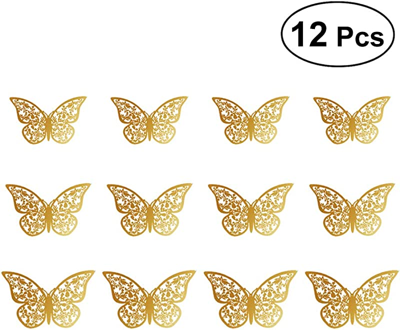 12pcs Hollow Out 3D Butterfly Stickers Glitter Art Murals For Wall Living Room Bedroom Decoration Pattern C Gold