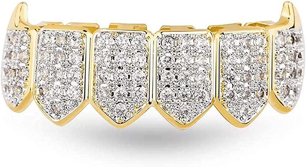canjoyn 18K Gold Plated Iced Out CZ Zircon Lower Bottom Grillz for Teeth with 2 Extra Molding Bars Hip Hop