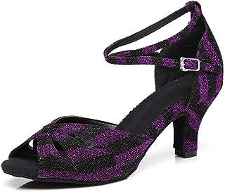 Women's Leopard Ankle Strap Salsa Latin Dance Sandals Party Wedding Shoes (Color : Purple, Size : 7.5 UK)