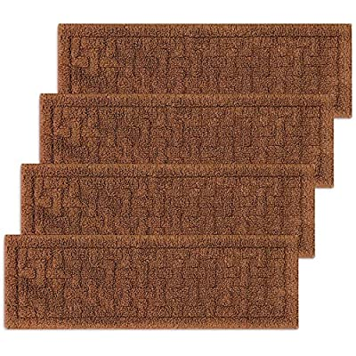 """Set of 4 New Basket-Weave Washable Indoor Stair Tread Rugs in Various Colors (9""""x 36"""")"""