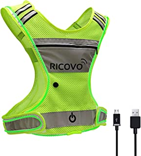 RICOVO LED Rechargeable Safety Vest with Pocket and Zipper, 360 Illuminated Rainproof Adjustable Yellow Reflective Mesh Vest, Super Bright Washable Safety Vest for Men and Women