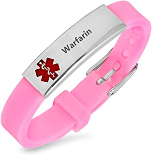 LiFashion LF Womens Girls Stainless Steel Silicone Sos Medical ID Adjustable Bracelet Pink Rubber Health Alert Wristband Monitoring Awareness Outdoor Emergency