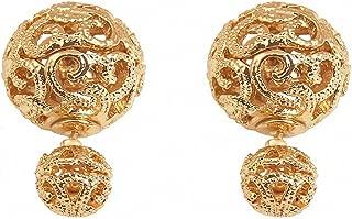 Double Sided Earring Two Sides Silver Gold Stud Earrings Women Wedding Jewelry