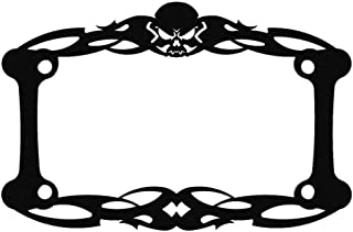 Ferreus Industries Black Powdercoat Motorcycle License Plate Frame Tattoo Skull Skeleton Skull - 1 Piece LIC-112-Black