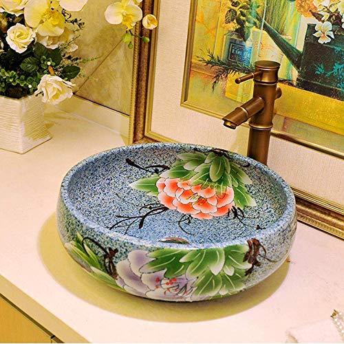 Badkamer, keramiek, rond, bovenkant van de wastafel, Vanita, boven de verse magnolia