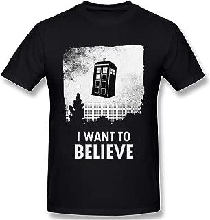 Ashmak Mens GreatLong I Want to Believe Who T-Shirt Men Tardis Dalek Dr Time Classic T Shirts Black