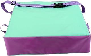 Uniquk Cojin Elevador de Silla ninos Asientos de Almuerzo portatil de Piel Sintetica de ninos Verde + Purpura