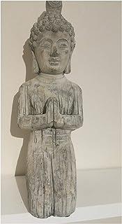 Sculpture de Bouddha Statue de jardin à genoux–Résiste au gel effet pierre
