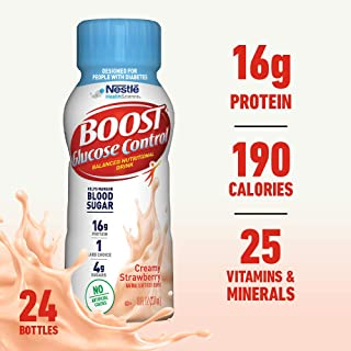 Boost Glucose Control Nutritional Drink, Strawberry Bliss, 8 fl oz Bottle, 24 Pack (Packaging May Vary)