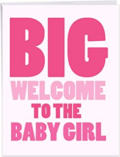 New Baby Girl - Baby Girl Greeting Card with Envelope (Big 8.5 x 11 Inch) - Newborn Welcome in Big Bold Letters for Baby Girl, Daughter - Baby Shower, Congratulations Notecard for Parents J6855BBG