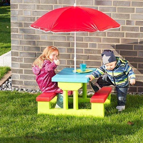Merschbrock Trade GmbH Kinder Picknickbank, Kunststoff mit Schirm