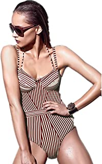 SUPHEN 女性のVネックレースアップストライププリントビキニファッションワンピース水着