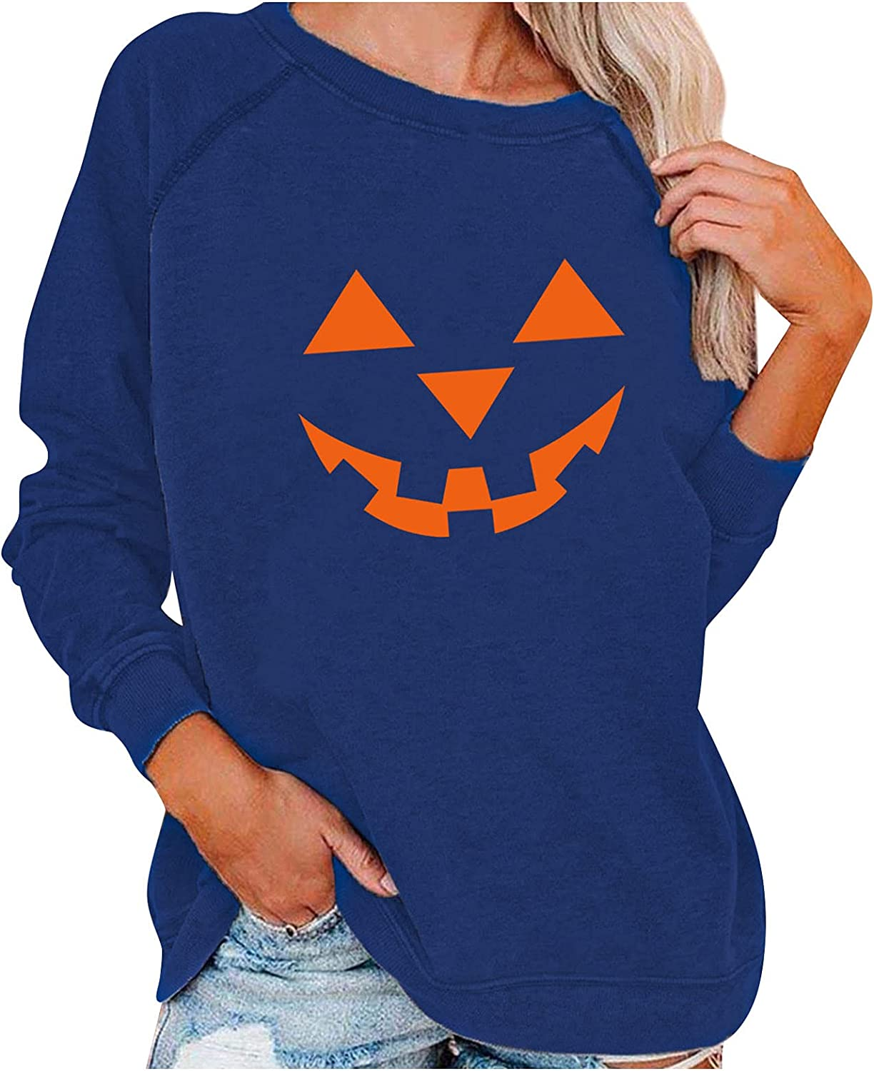 Halloween Clothes for Women Tops Fashion O-Neck Comfy Long Sleeve Little Witch Moonlight Broom Lake Flying Print Shirts