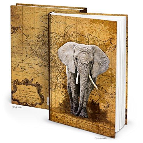 XXL notitieboek HARDCOVER DIN A4 olifant afrika vintage blanco boek wereldkaart reisdagboek dagboek blanco 164 lege witte pagina's boek nostalgie notebook antieke look als persoonlijk cadeau