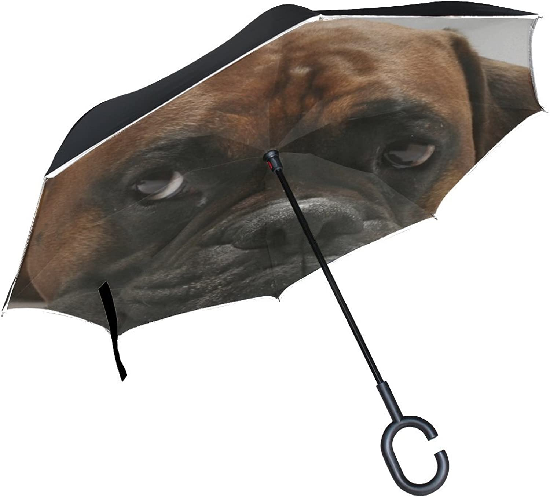 Animal Dog redtweiler Mix Darkbrown Fluffy Cute Pet Puppy Ingreened Umbrella Large Double Layer Outdoor Rain Sun Car Reversible Umbrella