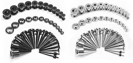 TBOSEN 36PCS Ear Gauge Stretching Kit Large Alloy Stainless Steel Tapers 2 In 1 Plugs Set Eyelet 14G-00G