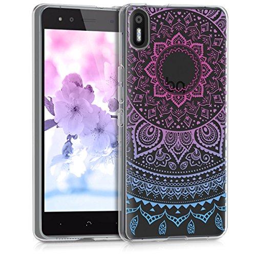 kwmobile bq Aquaris X5 Hülle - Handyhülle für bq Aquaris X5 - Handy Case in Indische Sonne Design Blau Pink Transparent