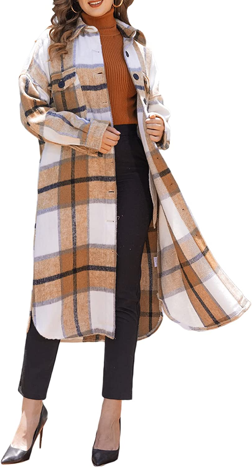Women Cheap mail order specialty store Plaid Long Shacket Jacket Lape Casual Daily bargain sale Oversize Sleeve